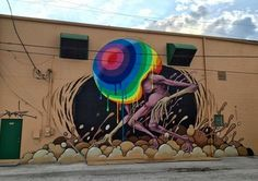 by Alex Pardee in St. Alex Pardee, Petersburg Florida, Deities, Cool Art, Street Art, Usa 2016, Neon Signs, Florida Usa, Lp