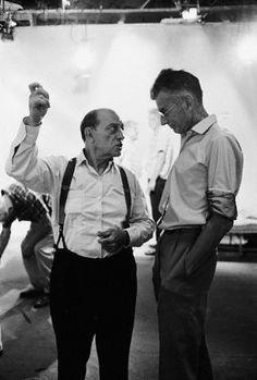 Buster Keaton and Samuel Beckett on a film set