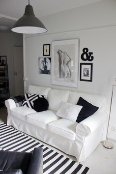 Ektorp sofa in a black and white living room