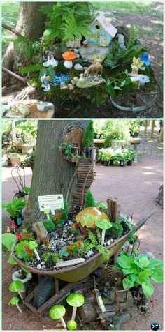Mobile Wheelbarrow Garden Along Trees - DIY WheelBarrow Miniature Garden Projects