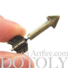 3D Fake Gauge Realistic Arrow Shaped Stud Plug Earrings in Bronze | dotoly - Jewelry on ArtFire