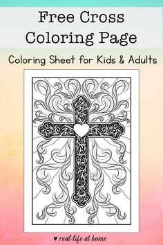 Whether it's for Easter or any time of year, this beautiful and inspirational religious cross coloring page is perfect for kids and adults. #ReligiousColoringPages #CrossColoringPage Easter Bunny Colouring, Easter Egg Coloring Pages, Coloring Sheets For Kids, Adult Coloring, Catholic Crafts, Catholic Kids, Church Crafts, Kids Church, Cross Coloring Page