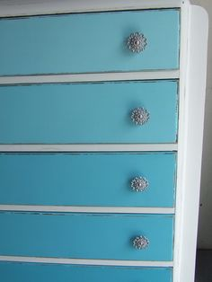Subtle Teal Gradient Color on Dresser Drawers