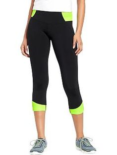 Old Navy, Women's Old Navy Active Rib-Knit Compression Capris in Glowing Green Neon, $27