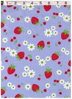 HALF YARD Yuwa Fabric -Strawberries, Cherries and Flowers on BLUE - 30's Collection Atsuko Matsuyama - Japanese Import Fabric by fabricsupply on Etsy