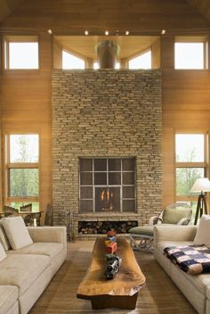 Stunning stone fireplace & 232 best DESIGN IDEAS | Stone Fireplaces images on Pinterest in 2018 ...
