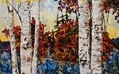 Summer Adventure - original painting by Maya Eventov at Crescent Hill Gallery Birch Trees, Joy Of Life, Acrylic Canvas, Exotic Flowers, Contemporary Paintings, Impressionism, Landscape Paintings, Amazing Art, Maya
