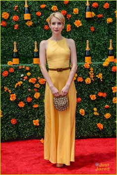 Emma Roberts Wears The Perfect Yellow Dress For Veuve Polo Classic: Photo #820016. Emma Roberts matches her parisol to her dress as she arrives for the 2015 Veuve Clicquot Polo Classic held at Liberty State Park on Saturday afternoon (May 30) in…