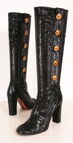 Marc Jacobs Black Python Boots with Brass Buttons