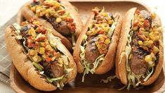 Sausage on a bun with pickle pepper relish. A classic combo improved dramatically by taking just a few minutes to mix up your own homemade relish--to which you can add chopped hot peppers for a kick, if you like. Grilled Sausage, Grilled Bratwurst, Veggie Sausage, Hot Sausage, Sausage Dogs, Chicken Sausage, Sausage Recipes, Grilled Chicken, Pork Recipes
