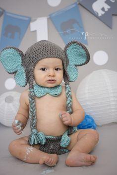 Elephant themed cake smash.  Boy setups.  Gray and blue.  First Birthdays.  Cake smash.  Caudle Photography.  Crystal Lake, IL.  caudlephotos.com