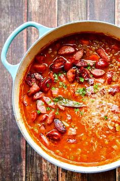 Try this easy Lentil Soup with Parmesan and Smoked Sausage - you will be SO GLAD you did! Everyone always RAVES over the flavor!