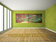 "Large Abstract Painting Diptych Set of 2 Title:""Running on Rio de Janeiro streets"" 19.7X63 inch(50x160 cm) Loft painting design Bronze art by MedenaArtStudios on Etsy"