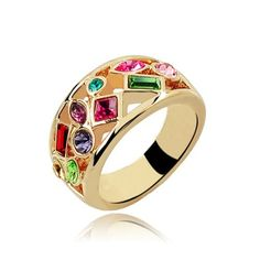 Magic Collection Gold Tone Multicolor Swarovski Crystal Cocktail Band Ring R232: Jewelry