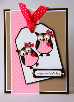 handmade Mother's Day card ... luv these two little punch art owls ... cut addition of a bow and bling on the headd ... pink polka dot paper with krat, white, and black ... tooo cute!!!