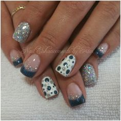 LCN Gel Nails, Christmas Nail Art, Blue, Glitter. Inspired by others, created by Kimberly Steeves (Speichts)