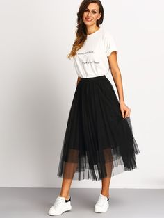 Mar 2020 - Mesh Pleated Elastic Waist Skirt – GaGodeal Black Tulle Skirt Outfit, Dress Skirt, Waist Skirt, Long Skirt Outfits For Summer, Chic Outfits, Fashion Outfits, Trendy Outfits, Skirt And Sneakers, Casual Skirts