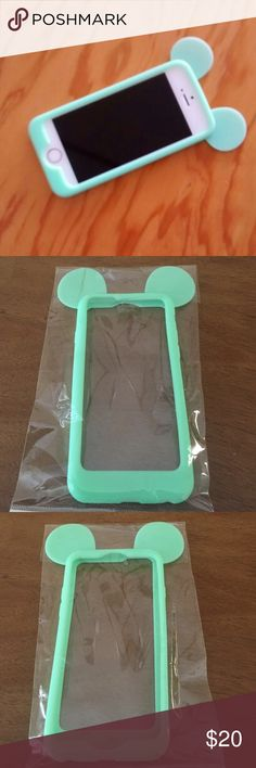 Cute 3D Mickey Mouse ears iPhone 6 Case❤️ Cute Case for iPhone 6.The color is like a mint green.Cute Mickey/Minnie mouse ears look!❤️Silicone frame.3D ears! Accessories Phone Cases