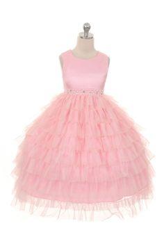 Wishesbridal Pink Lovely O Neck Floor Length #Tulle Ball Gown #GirlsPageantDress B3gd0008