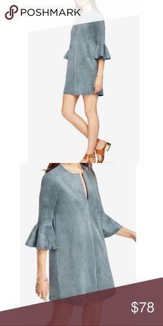 NWT BCBG Catier Dress sz L Great faux suede blue tunic dress. Never worn. Tags still attached. BCBGMaxAzria Dresses