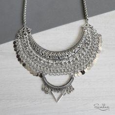 Collar Katia Boho Jewelry, Silver Jewelry, Handmade Jewelry, Jewelry Design, Marching Band Uniforms, Maxi Collar, Jewelry Making Tutorials, Chainmaille, Chokers