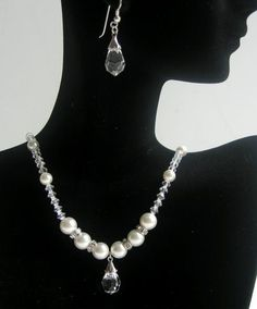 Price : $25.49 Swarovski Clear Crystal Pearl Necklace Clear Crystal Teardrop Earrings Party Bridal Jewelry  Material Used:Genuine Swarovski Clear Crystal 4mm Bicone, Swarovski Pearl 6mm & 8mm with Rondells Bridal Necklace Set, Bridal Party Jewelry, Pearl Necklace Set, Swarovski Crystal Necklace, Swarovski Jewelry, Swarovski Pearls, Pearl Jewelry, Crystal Jewelry, Selling Jewelry