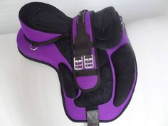 YESRD Quality Synthetic English Treeless Horse Saddle. In black and blue for Cookers and brown and beige for Feather.