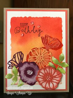 Ramblin' Stamper: Watercolor Technique with Oh So Eclectic Flower Stamp, Flower Cards, Happy Birthday Pat, Stampin Up Catalog, Stamping Up Cards, Card Making Techniques, Card Tutorials, Watercolor Cards, Homemade Cards