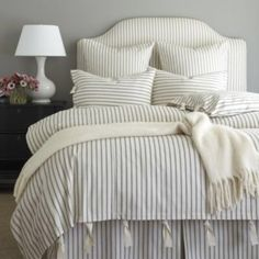 Ticking stripe bedding from @ballarddesigns     Double tab for more images.  #fortheloveoflinen #linen #bedlinen #tellmemore #interior4all #linenbedding #pureline #purelinenutrition #interiordecor #bedroomdecor #bedroominspiration #handmade #handmadebedding  #tailoredmade #instadaily #tickingstripe #pinstripe #stripebedding