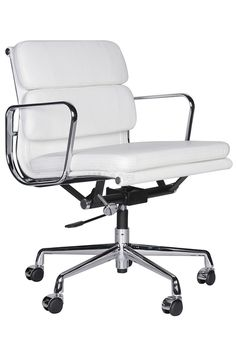 Replica Eames Office Low Back - Leather. Full leather exterior / Vinyl lining inner. Available in Black leather and White leather.