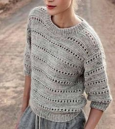 Knitting Patterns Pullover gray sun ه sweater sweater knit knit gray wool wool Sweater Knitting Patterns, Knitting Designs, Knit Patterns, Clothing Patterns, Summer Knitting, Crochet Summer, Knit Fashion, Crochet Clothes, Knitwear