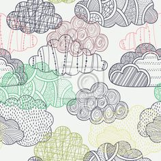 """Wall Mural """"cloud, seamless, autumn - clouds seamless pattern"""" ✓ Easy Installation ✓ 365 Days Money Back Guarantee ✓ Browse other patterns from this collection!"""