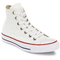 Converse Chuck Taylor All-Star Star-Embroidered High-Top Sneakers (€63) ❤ liked on Polyvore featuring shoes, sneakers, round toe sneakers, embroidered sneakers, star shoes, round toe shoes and converse high tops