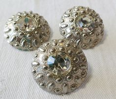 3 Silver toned plastic buttons domed with by ButtonsAndTreasures