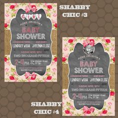 Shabby Chic Baby Girl Shower Invitations Thank You Cards Printable Uprint Digital Printed  READ DESCRIPTION  thank you cards digital printable girl baby shower burlap shabby chic roses rose country turquoise pink chalkboard KDesigns2006 1.00 USD