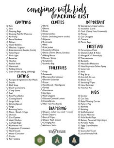 Camping with Kids - Free Printable Packing List - Our Handcrafted Life - Camping Organization Ideas Camping Checklist Family, Camping List, Camping Hacks, Camping Gear, Outdoor Camping, Family Camping, Camping Equipment, Camping Items, Camping Trailers