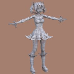 Female Character Model and Wireframe by クロシロひつぢ