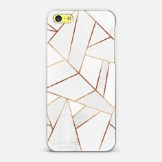 iPhone 5c Case White Stone and Copper Lines