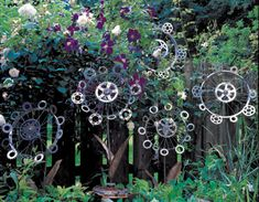 Bicycle wheels and gears become sunflowers