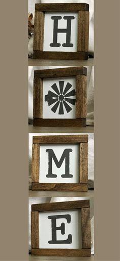 "Mini HOME sign!! Love that the ""O"" is a windmill!! Farmhouse decor, Farmhouse Wood Tiles | Framed Wood Signs | Farmhouse Windmill Decor, Rustic decor, Rustic sign, gallery wall home decor #ad"