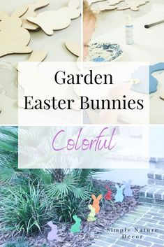 Add color to your garden for Easter with these adorable wooden Easter bunnies. How To Make Wooden Easter Bunnies If you want to add color to your garden here is a fun craft you can do with your kids. My grandsons love to paint and using one color at a time makes it easy to paint these bunnies. If they are any spots they miss I can always paint over it. Noticed that isolated red bunny in the back, my grandson Preston loves the color red. Kids are drawn to bright color as it is a sig… Easter Crafts For Kids, Fun Crafts, Painted Glass Vases, Easter Garden, Diy Easter Decorations, Dollar Store Crafts, Spring Crafts, Easter Bunny, Holiday Fun