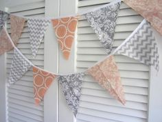 Peach Gray Damask Polka Dot Birthday Party Wedding Girls room baby Bunting Banner sign party | thecountrybarn - Housewares on ArtFire