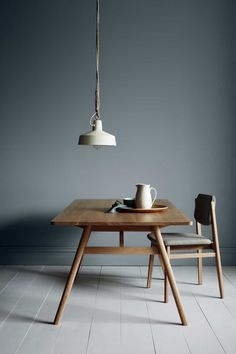 Mid-Century Table and Chair // Pendant Lamp // Grey Walls // Home Decor