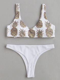 ¡Cómpralo ya!. Pineapple Print Beach Bikini Set. White Bikinis Sexy Vacation Push Up Polyester YES Print Swimwear. , bikini, bikini, biquini, conjuntosdebikinis, twopiece, bikini, bikini, bikini, bikini, bikinis. Bikini de mujer de SheIn.