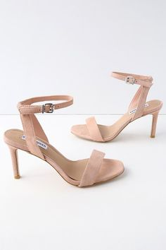Every party dress deserves a pair of pumps as chic as the Steve Madden Faith Blush Suede Ankle Strap Heels! Slender straps, made from soft, genuine suede, shape a toe band and ankle strap with a silver buckle.