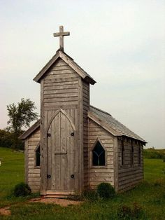 I would love to have a little garden shed that looks like a church! cute!
