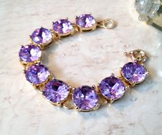 NEW Designer Style Purple Crystal Statement Bracelet Bubble Chain Women's Lady #Statement
