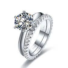 Fine Jewelry Humor 3ct Round Cut Lotus Flower White Diamond Wedding Bridal Ring In 14k White Gold Diamond
