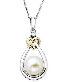 Pearl and Diamond Pendant, 14k Gold and Sterling Silver Cultured Freshwater Pearl and Diamond Accent Heart Pendant - Necklaces - Jewelry & W...