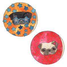 Donut Pugs- 100 Days of Dog Doodles by Claire Chambers - Chickenpants.com